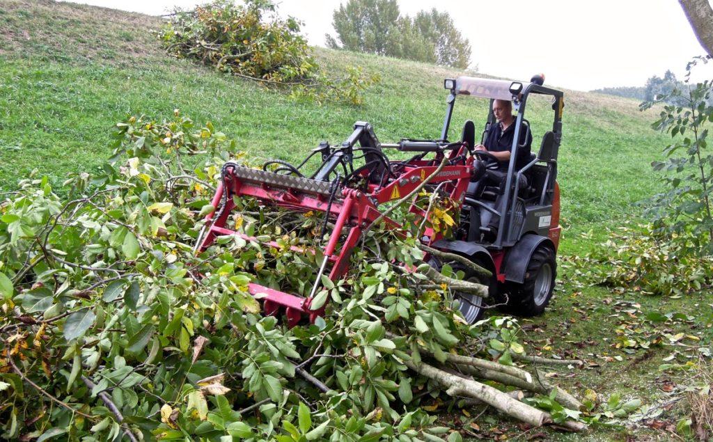 Het uitvoeren van achterstallige snoei in bij notenbomen. De zware takken m.b.v shovel en takkenklem tegen de dijk werken.